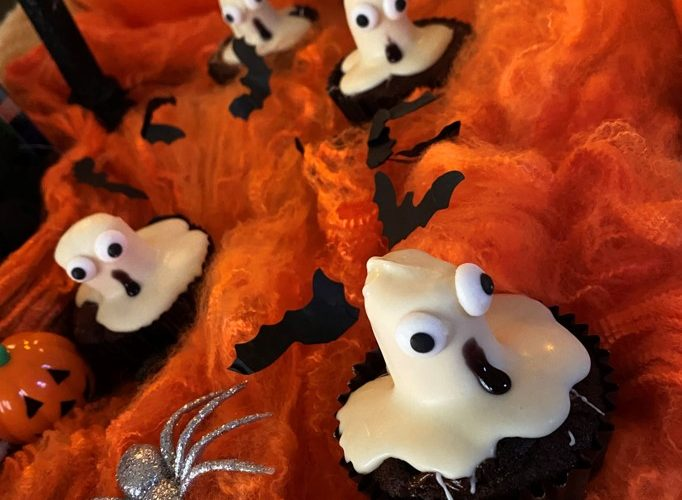 Double Choc Mini Mallow Ghost Cupcakes